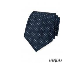 Tmavě modrá kravata se světle modrými tečkami