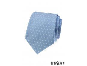 Světle modrá kravata s hranatým vzorem