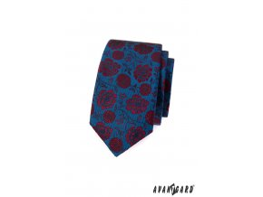Modrá slim kravata s červenými květy