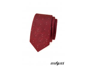 Bordó slim kravata s bílým vzorem