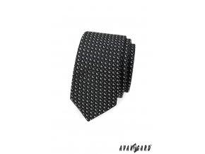 Černá slim kravata s bílým trojrozměrným vzorem
