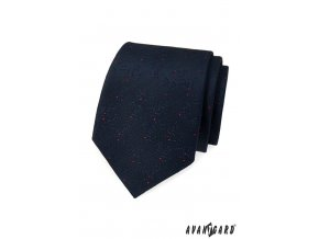 Velmi tmavě modrá kravata s červenými tečkami