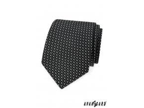 Černá kravata s bílým trojrozměrným vzorem