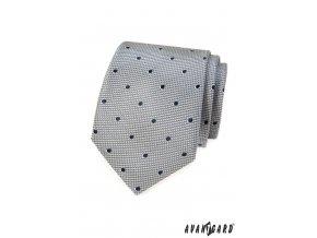 Šedá vzorovaná kravata s černými puntíky