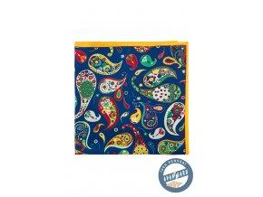 Modrý kapesníček s výrazným barevným vzorem