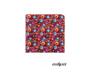 Červený kapesníček s barevnými květy