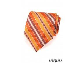 Oranžová luxusní kravata s různě širokými proužky