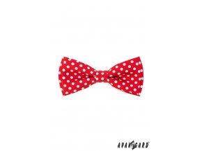 Červený motýlek s puntíky + kapesníček