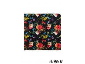 Černý kapesníček s barevnými květy