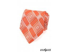 Oranžová luxusní kravata se světlým hranatým vzorem