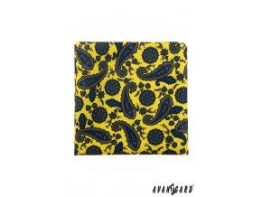 Žlutý kapesníček s výrazným modrým vzorem