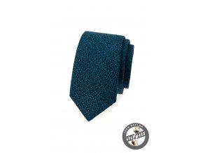 Modrá slim kravata se vzorem v barvě petrol