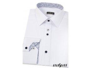 Bílá pánská slim fit košile s modrým vzorem, dl. rukáv, 125-0167