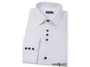 Bílá pánská slim fit košile s červenými tečkami, dl. rukáv, 125-0169