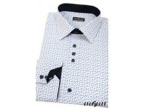Bílá pánská slim fit košile s drobným modrým vzorem, dl. rukáv, 125-0170