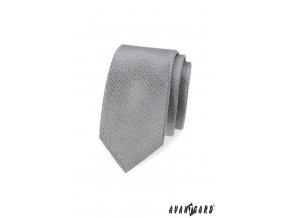 Šedá slim kravata s velmi nenápadnými proužky