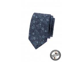 Modrá džínová slim kravata s květy