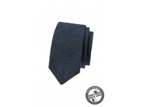 Tmavě modrá džínová slim kravata