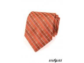 Rozmanitě proužkovaná oranžová luxusní kravata _