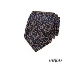 Tmavě modrá kravata s pudrovým vzorem