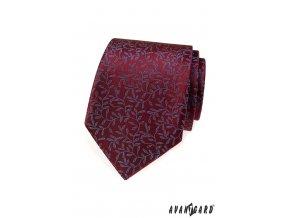 Bordó kravata s modrým vzorem