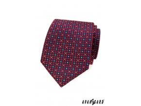 Červená kravata s modrým kostičkovaným vzorem