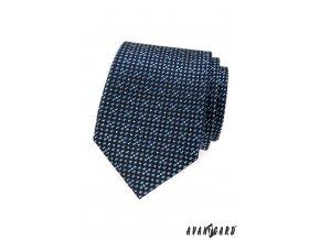 Tmavě modrá kravata s bílým a světle modrým vzorem
