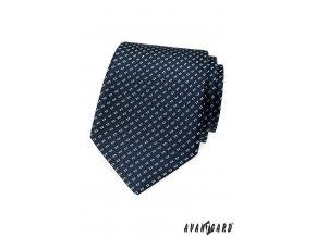 Tmavě modrá kravata s obdélníkovým vzorem