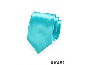 Sytě tyrkysová jemně lesklá jednobarevná luxusní kravata