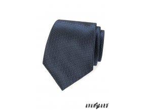 Tmavě modrá kravata s drobnými bílými obdélníčky