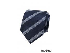 Modrá kravata se všitými světlými pruhy