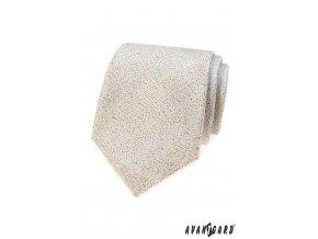 Béžová kravata s jemným tečkovaným vzorkem