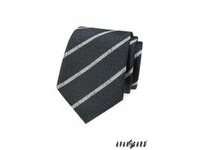 Tmavě grafitová kravata se žíhanými proužky