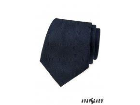 Velmi tmavě modrá kravata s jemnou vroubkovanou strukturou