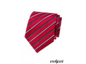 Červená kravata s barevnými proužky