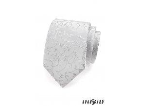 Kravata AVANTGARD LUX 561-9555 Stříbrná (Barva Stříbrná, Velikost šířka 7 cm, Materiál 100% polyester)