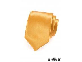 Zlatá jednobarevná jemně lesklá luxusní kravata