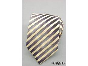 Žlutá proužkovaná luxusní kravata _