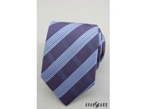 Tmavě modrá luxusní kravata s kolmými proužky _