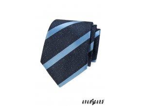 Velmi tmavě modrá kravata s bledě modrými pruhy