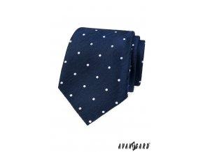 Velmi tmavě modrá kravata s bílými puntíky