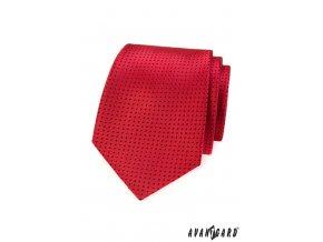 Červená kravata s drobnými modrými tečkami