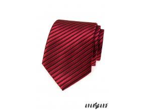 Červená jemně lesklá kravata s pruhy