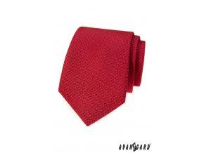 Červená kravata s velmi jemným bílým vzorkem