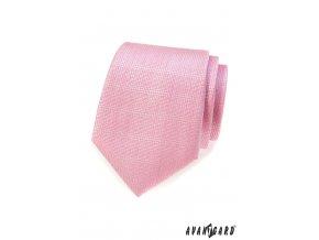 Světle růžová kravata s vroubkovanou strukturou
