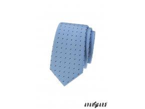 Světle modrá slim kravata s úzkými obdélníčky