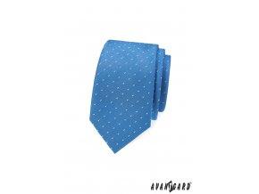 Světle modrá slim kravata s drobným bílým vzorem