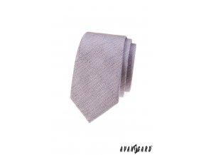 Světle růžová slim kravata se šedým žíháním