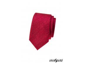 Červená slim kravata s bílým popraškem