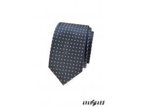 Tmavě šedá slim kravata s bílými puntíčky